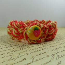 Crochet bracelet - red & yellow
