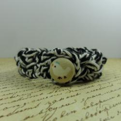 Handmade bracelet - crochet in black and white